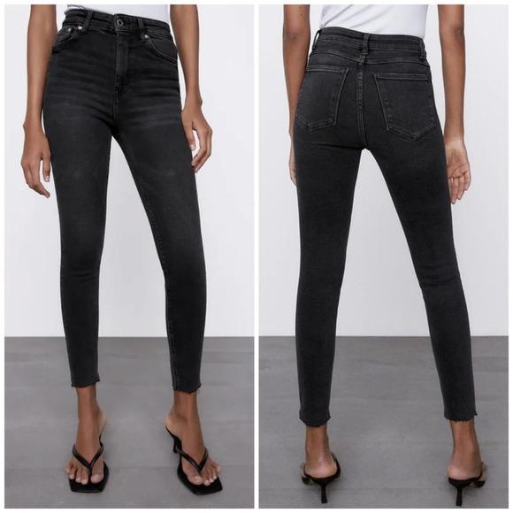 NWT Zara Premium 80s High Waist Jeans Fall Black 8